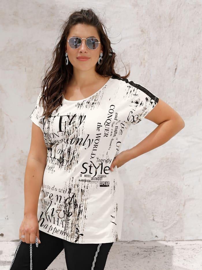 MIAMODA Shirt mit grafischem Schriftedruck, Off-white/Beige/Schwarz