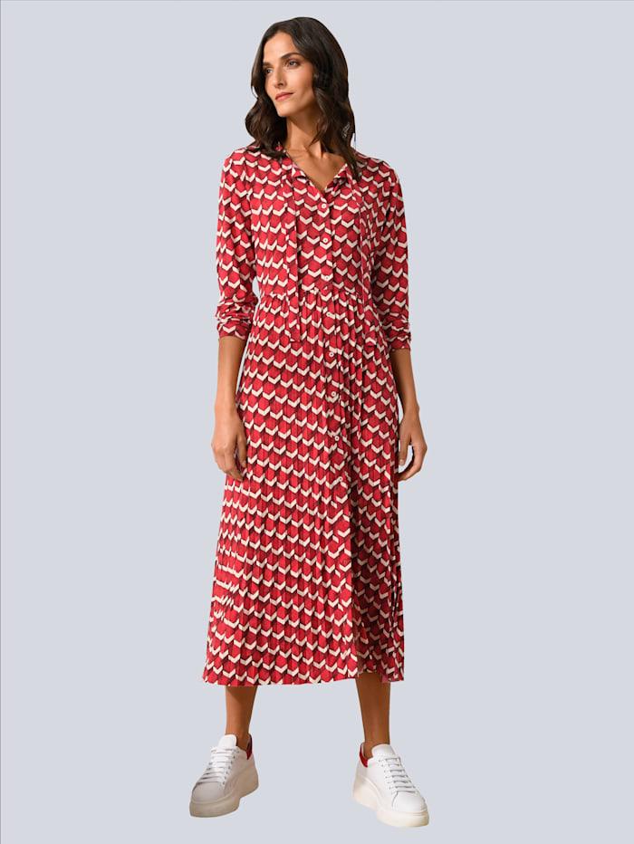 OUI Kleid allover im Grafikdessin, Rot/Weiß