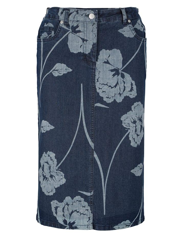 Spijkerrok met bloemenprint