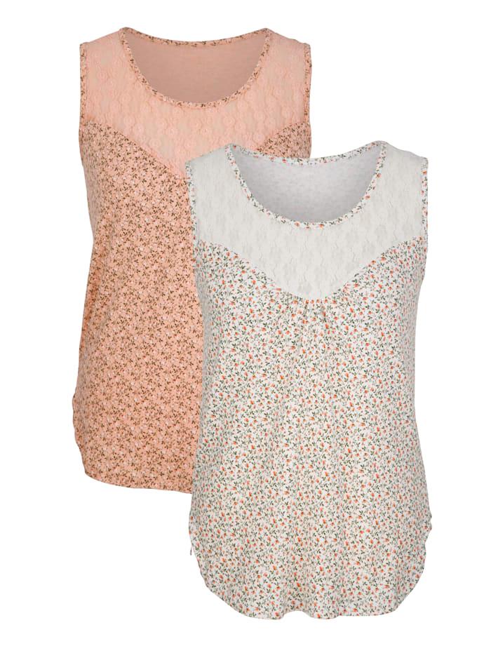 Harmony Achselhemden mit Spitze 2er Pack, 1x creme/grün, 1x apricot/grün