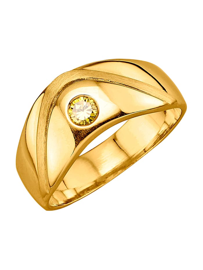Diemer Diamant Damenring mit Brillant, Gelb