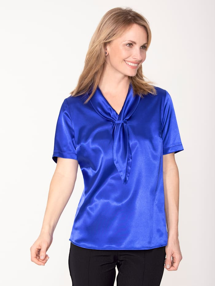 MONA Blouse made from elegant satin, Royal Blue