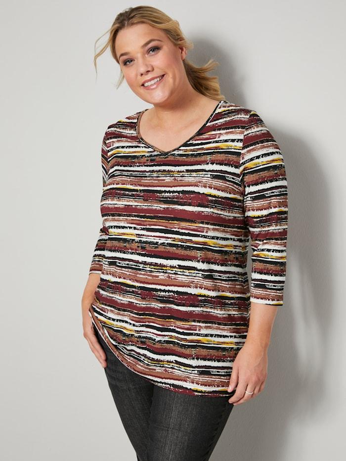 Janet & Joyce Shirt mit Ringel-Dessin, Weiß/Granatrot/Cognac/Schwarz