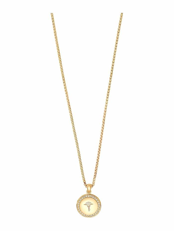 JOOP! Kette mit Anhänger für Damen, Sterling Silber 925 vergoldet, Zirkonia, Gold