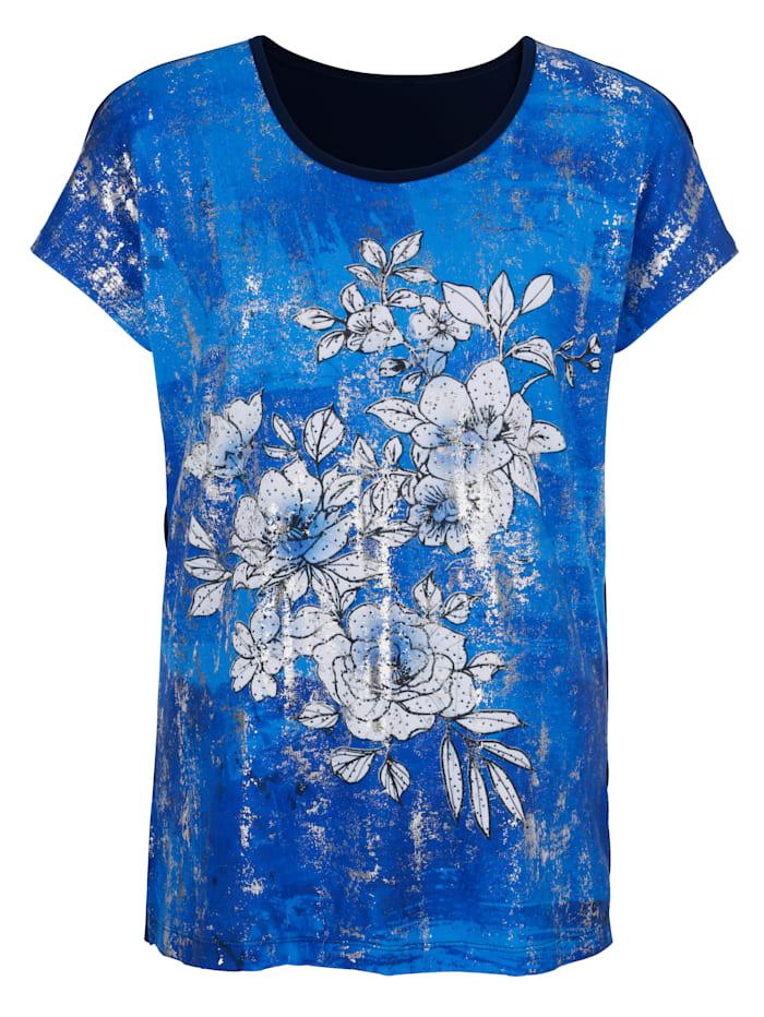m. collection Shirt mit platziertem floralem Druckdesign vorne, Blau