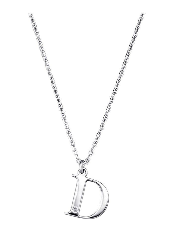 Collier Letter D met diamant, Zilverkleur