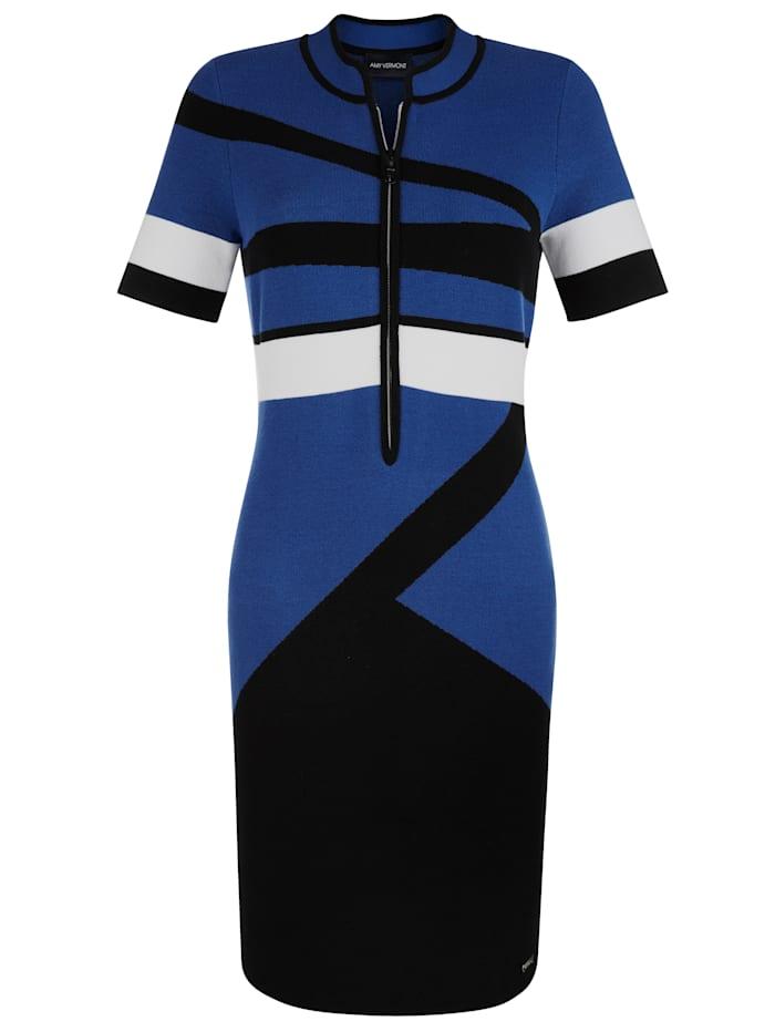 AMY VERMONT Strickkleid mit grafischem Muster, Royalblau/Schwarz/Weiß