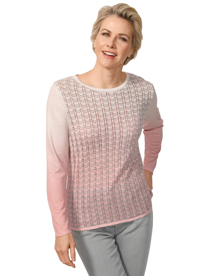 MONA Pullover mit Ajour-Strick, Rosé/Ecru/Silberfarben