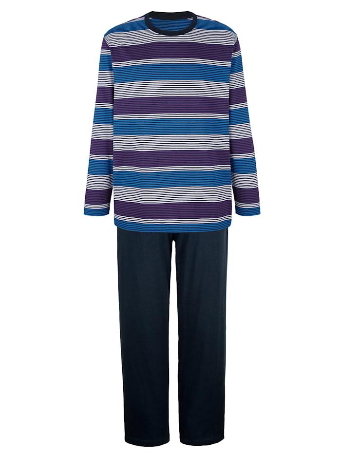 G Gregory Schlafanzug mit garngefärbten Streifen, Marineblau/Lila
