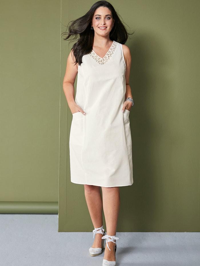 MIAMODA Kleid aus Baumwoll-Leinen Material, Weiß