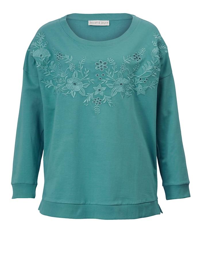 Sweatshirt met opengewerkt borduursel