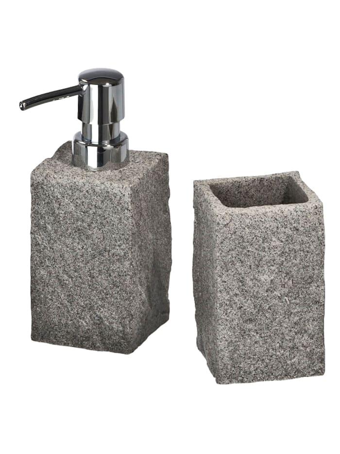 Wenko Bad-Accessoire-Set Granit 2-teilig, Grau
