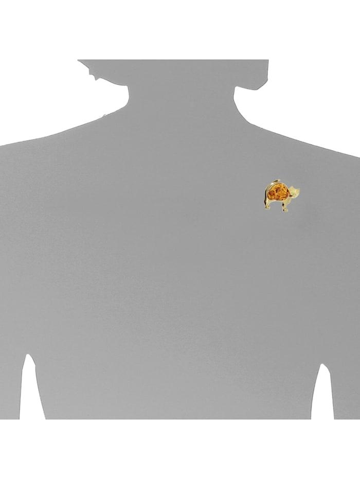 Brosche - Katze - Silber 925/000, vergoldet - Bernstein