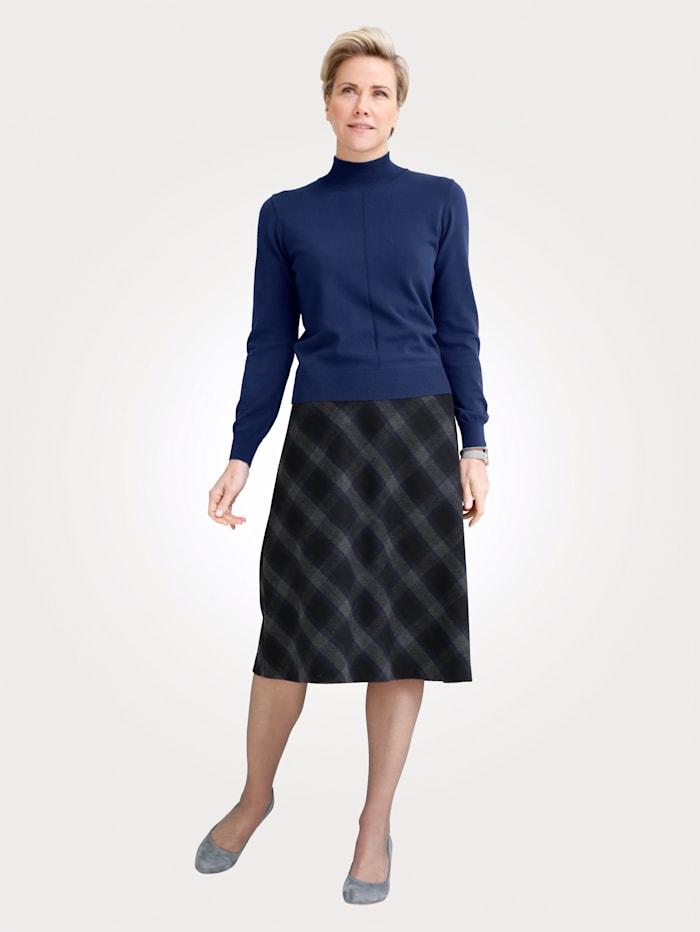 MONA Jupe avec motif à carreaux en diagonale, Bleu/Gris