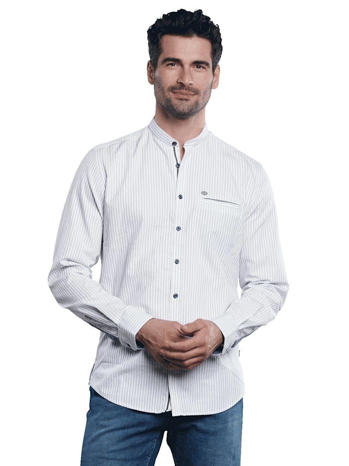 Engbers Baumwollhemd im Streifendesign, Hellblau