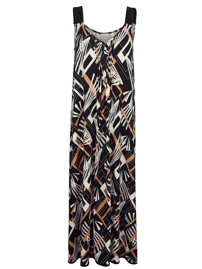 Alba Moda Strandkleid im Grafikdruck, Schwarz-Ws-Kupfer