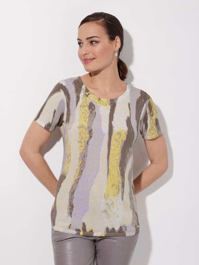 AMY VERMONT Pullover mit grafischem Muster, Gelb/Lila