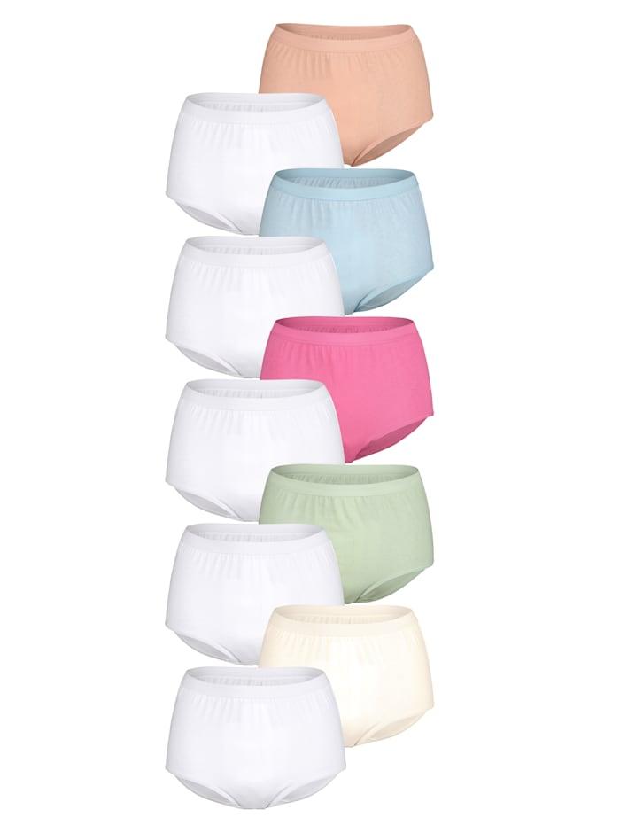 Harmony Taillenslips im 10er Pack mit extra hoher Leibhöhe, Weiß/Champagner/Rosé/Blau/Mintgrün/Lachs