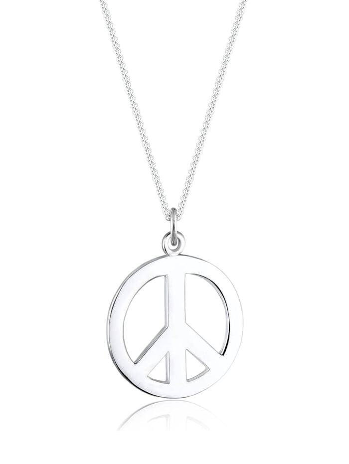 Elli Halskette Boho Peace Zeichen 925 Sterling Silber, Silber