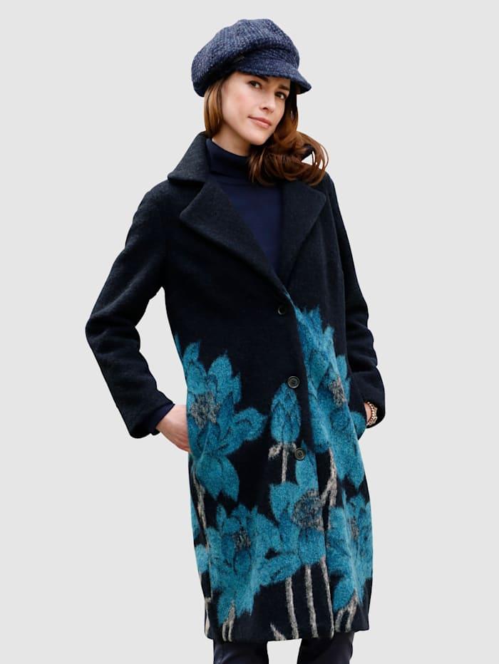 MONA Manteau en laine foulée à motif fleuri, Marine/Pétrole