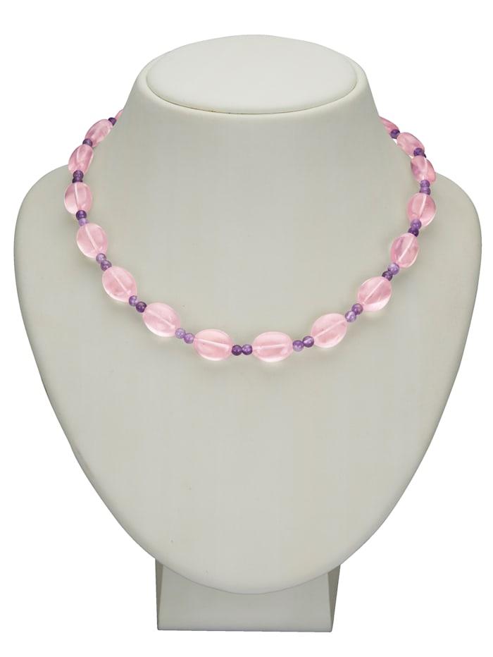 Halskette aus Rosenquarzen und Amethysten