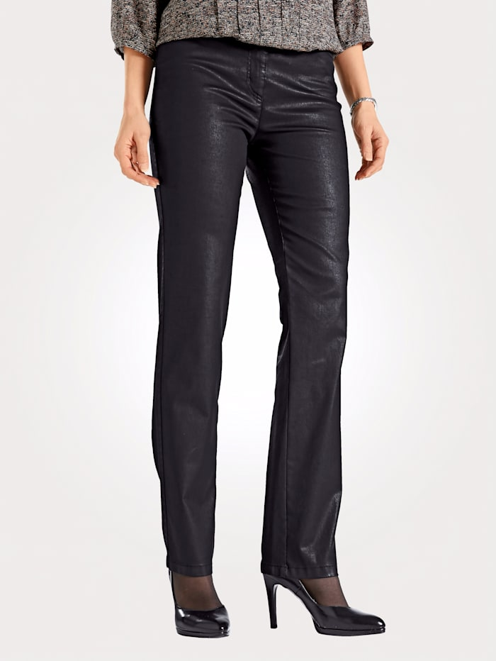 Toni 5-pocket trousers in leather look, Black