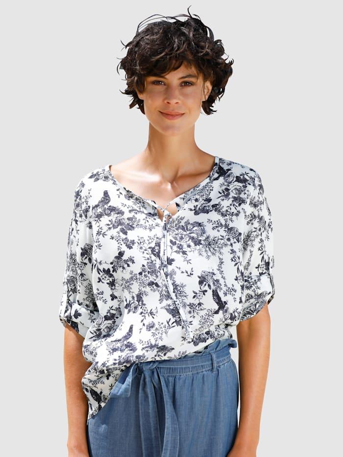 Dress In Blouse met speelse print, Marine/Wit