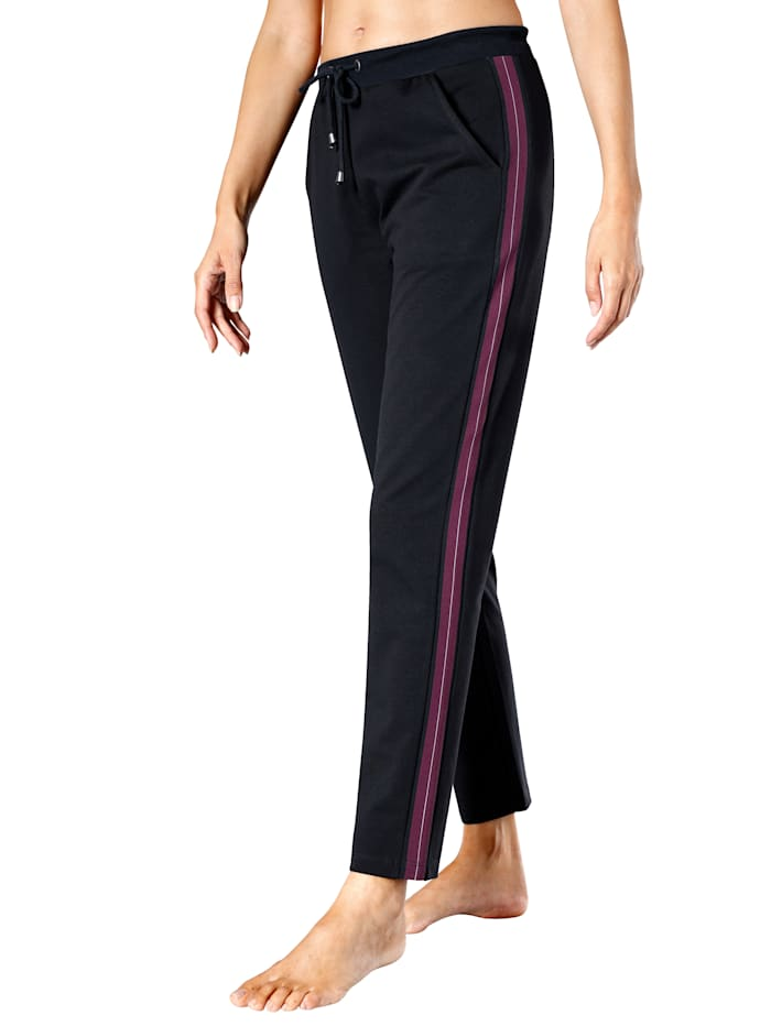 Harmony Joggingbroek met gekleurde streepinzetten, Marine/Paars