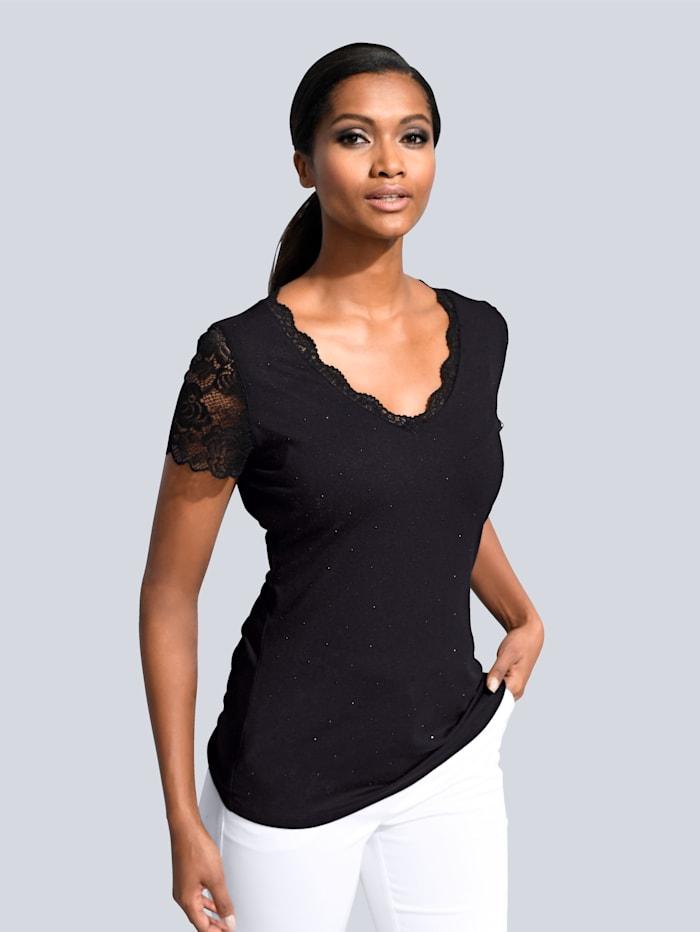 Alba Moda Shirt mit femininer Spitze, Schwarz