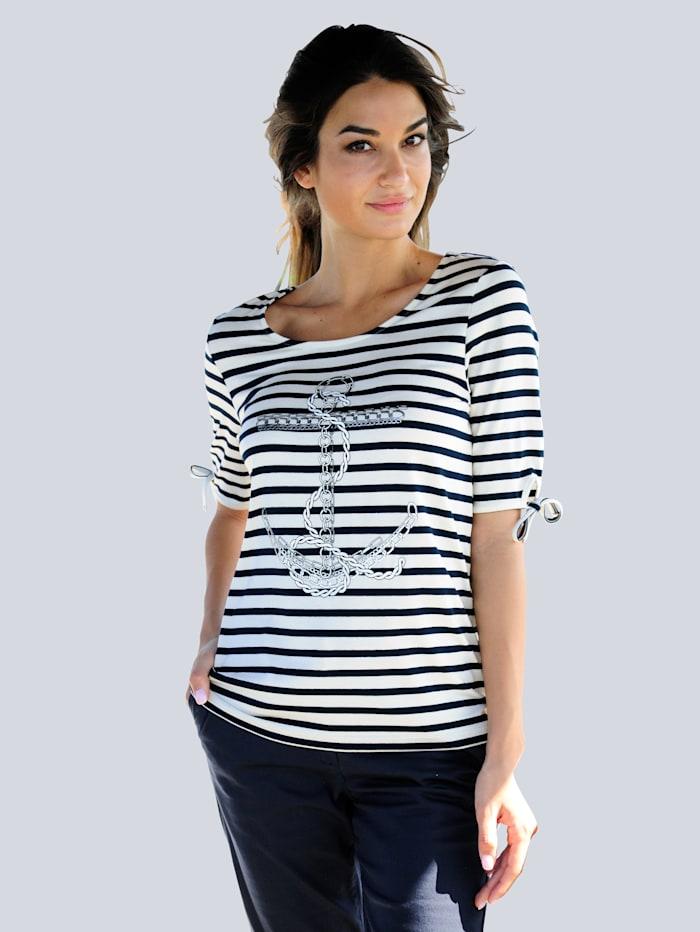 Alba Moda Strandshirt mit Ankerdruck, Weiß