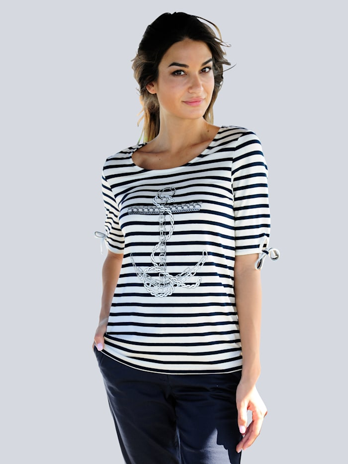 Alba Moda Strandshirt met ankerprint, Wit