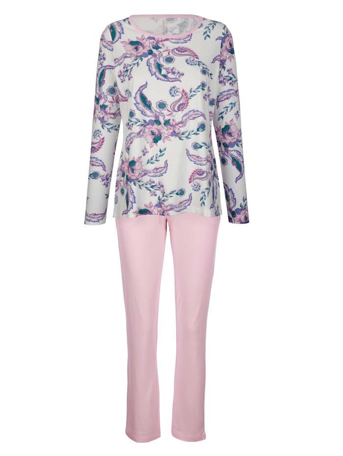 Simone Schlafanzug im floralen Dessin mit verlängertem Rückenteil, Ecru/Rosé/Blau