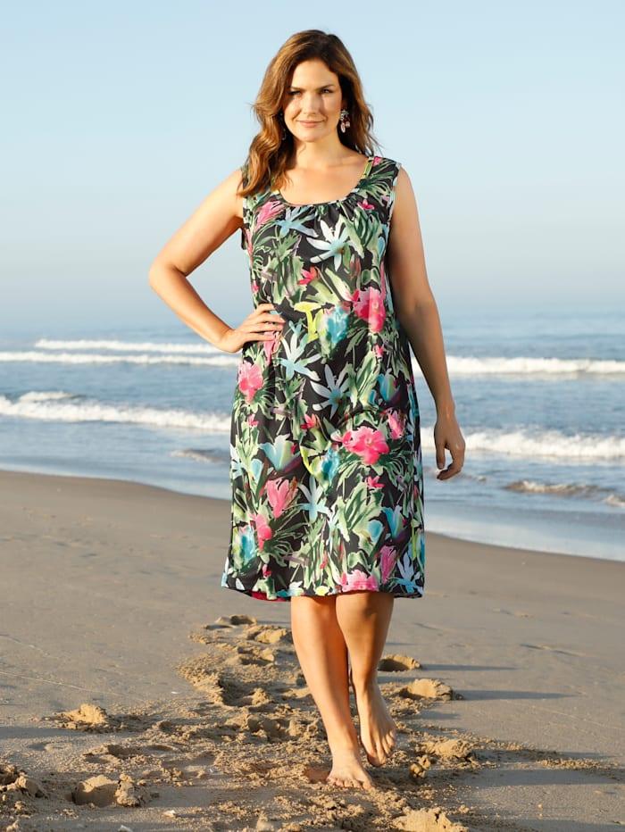 Schwab Bademoden Strandkleid in sommerlich leichter Qualität, Grün/Pink/Schwarz