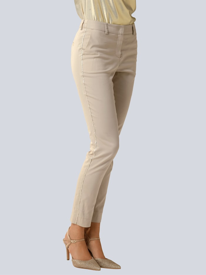Alba Moda Pantalon avec passepoil mode légèrement brillant, Beige