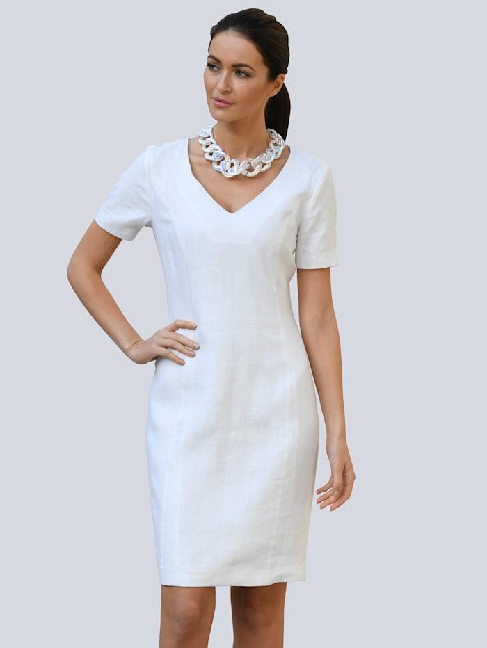Alba Moda Kleid aus reinem Leinen, Weiß