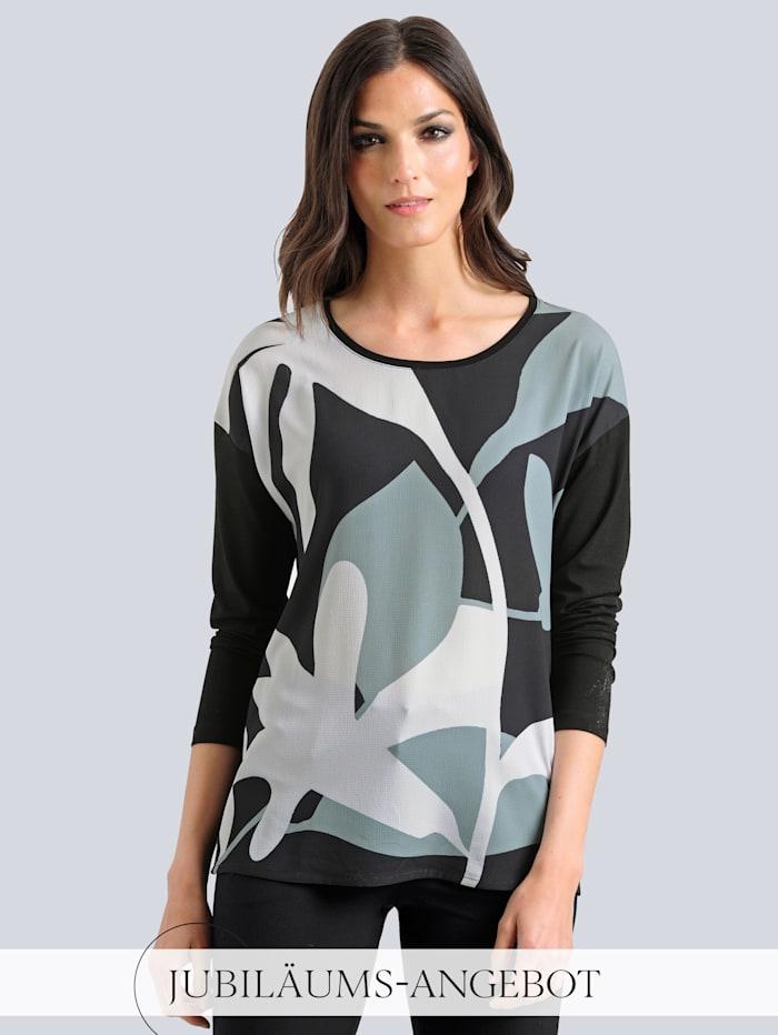 Alba Moda Shirt im exklusiven Dessin von Alba Moda, Schwarz/Salbeigrün/Weiß