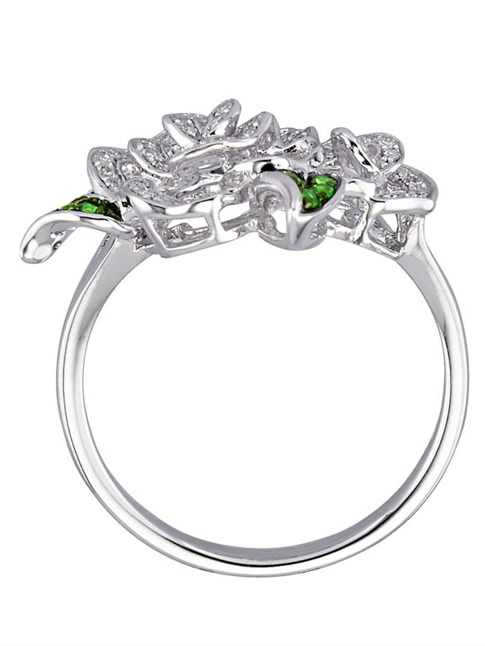 Rosformad ring med diamanter