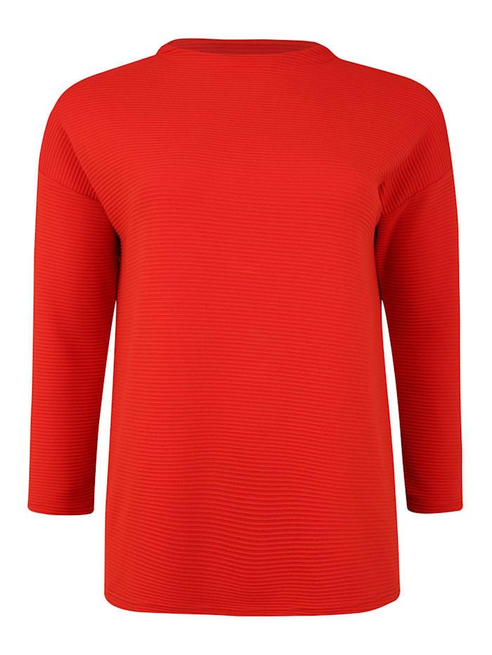 Doris Streich Pullover mit Rippstruktur, rot