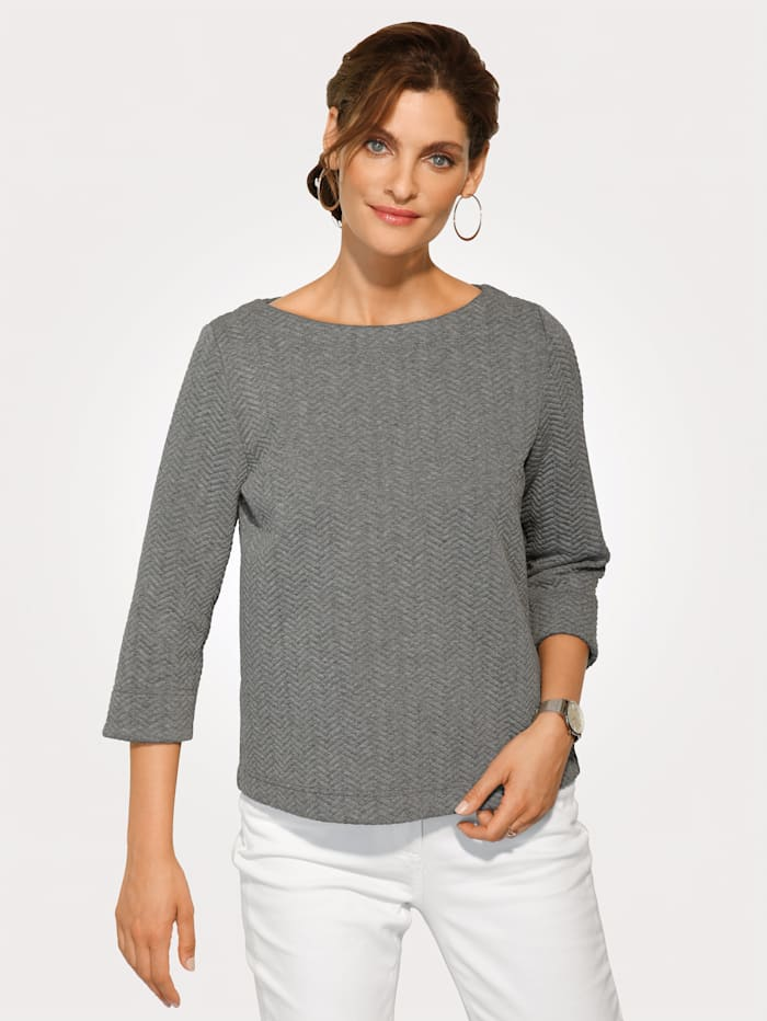MONA Sweat-shirt d'aspect chevron, Gris