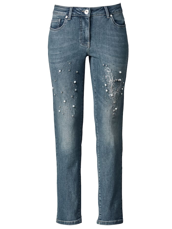 Jeans with decorative faux pearls