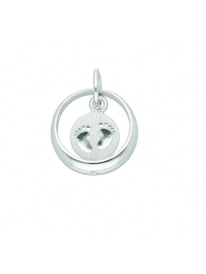1001 Diamonds Damen Silberschmuck 925 Silber Anhänger Taufring mit Zirkonia Ø 11,1 mm, silber