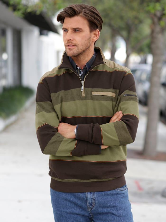 Sweatshirt im Material-Mix