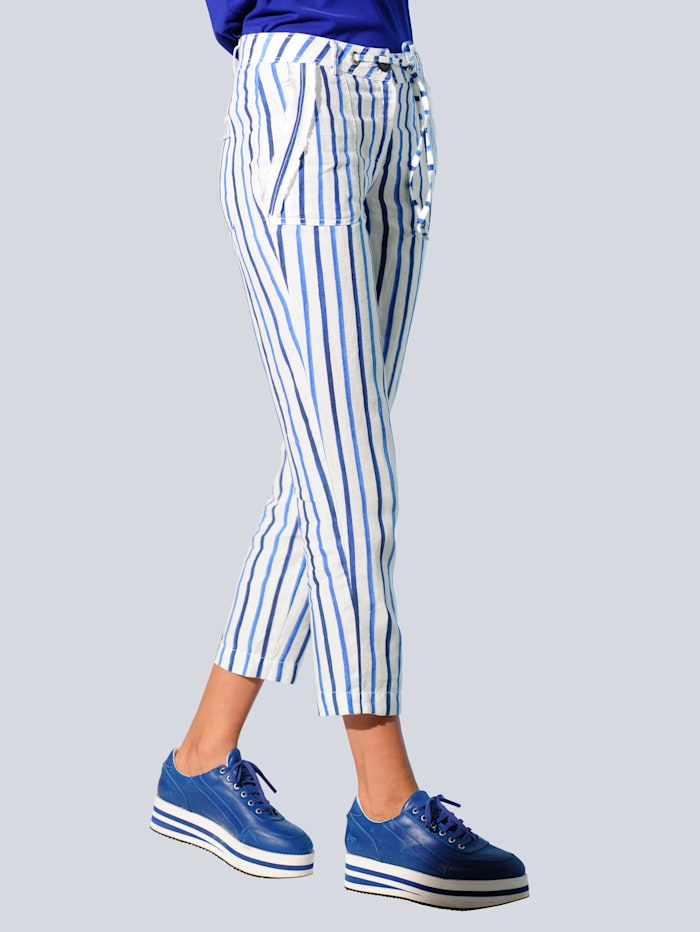 Alba Moda Hose im exklusivem Alba Moda Streifendessin, Weiß/Blau