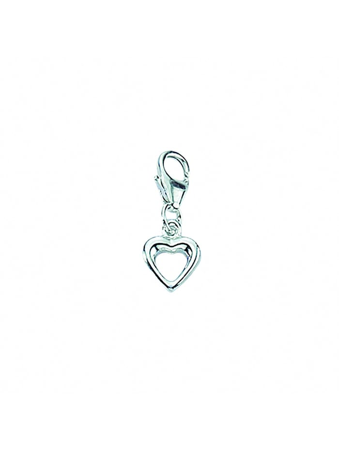1001 Diamonds Damen Silberschmuck 925 Silber Charms Anhänger Herz, silber