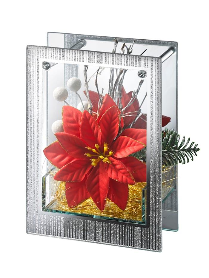 LED-joulutähti lasikehyksissä, Punainen