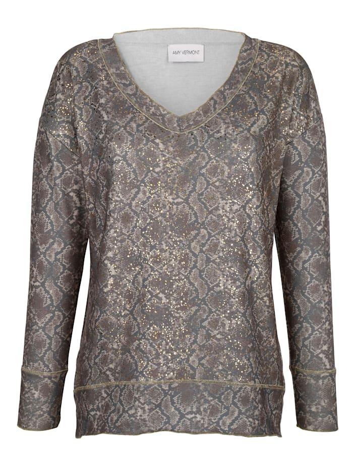 Pullover im allover-Animaldruck