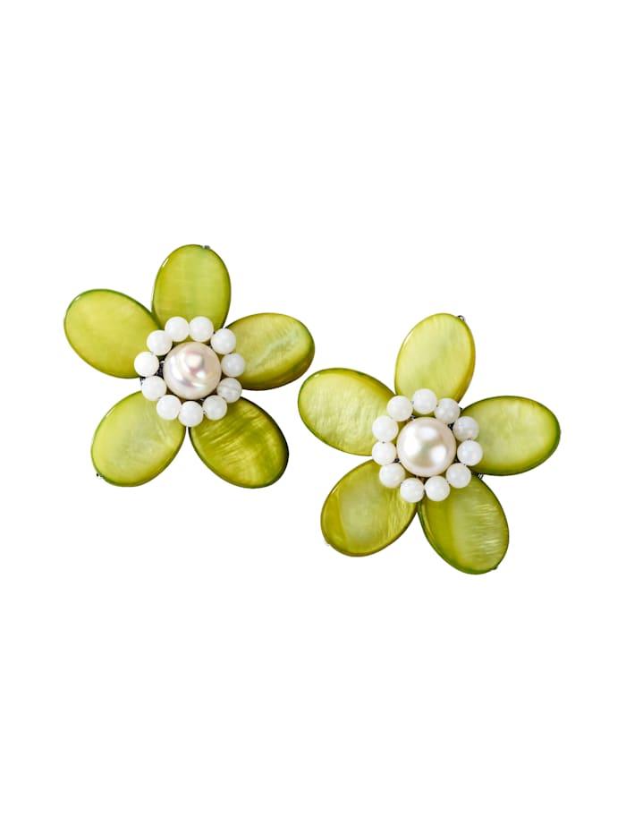 Blumen-Ohrclips, Grün
