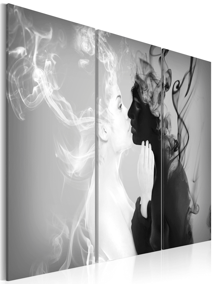 artgeist Wandbild Smoky kiss, schwarz-weiß