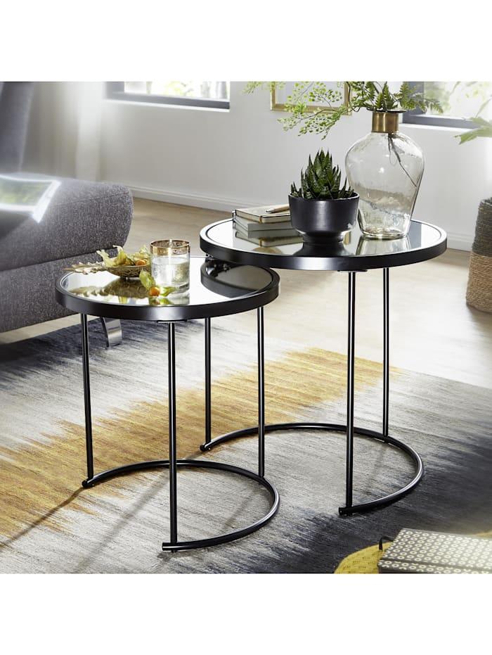 Beistelltisch Rund Ø 50/42 cm - 2 teilig mit Spiegel Glas 2er Set Satztisch verspiegelt Couchtisch