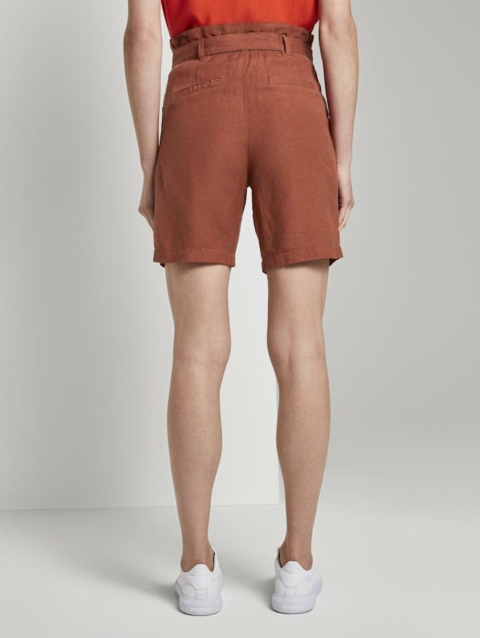 Paperbag-Shorts aus Leinengemisch